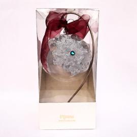 Glob argintiu cu turquoise sticlă 10 cm cutie