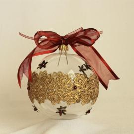 Glob Crăciun sticlă cu dantelă şi flori metalice