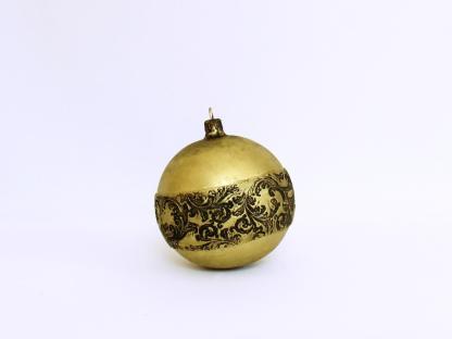 Glob Crăciun Negru Auriu din sticlă 10 cm