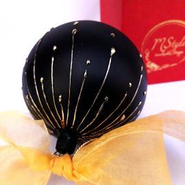 Glob Crăciun sticlă negru cu auriu 10 cm