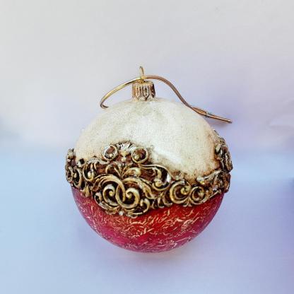 Glob Crăciun aspect vintage sticlă 10 cm