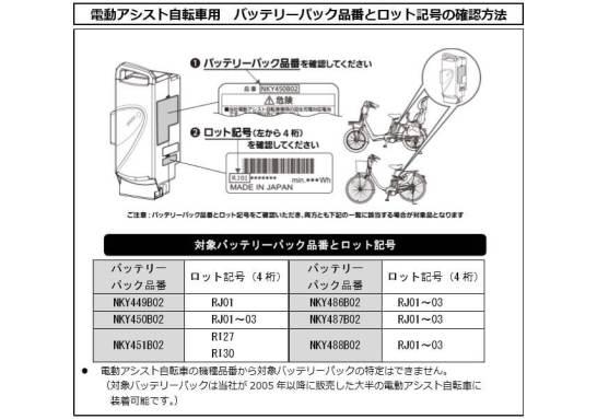 パナソニックの電動自転車用バッテリーが焼損