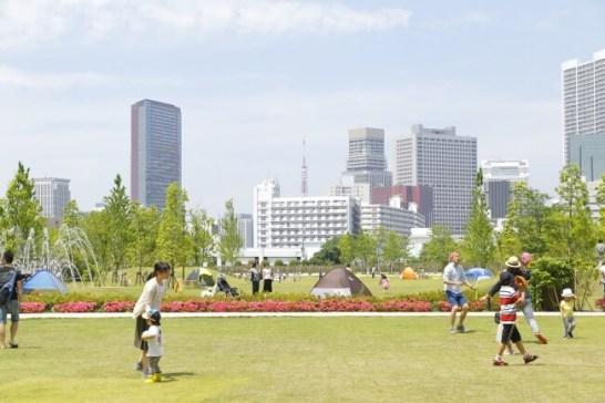 都会のど真ん中の広大な芝生は圧巻