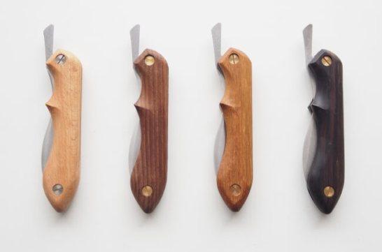 写真左から、ブナノキ、サーモアッシュ、ビルマチーク、黒檀