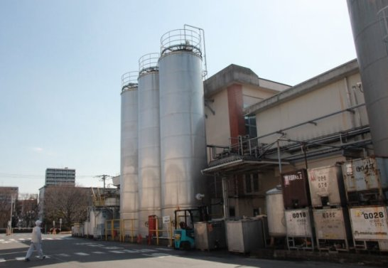 こちらのタンク3本分が、おおよそ1日の生産量(約300KL)