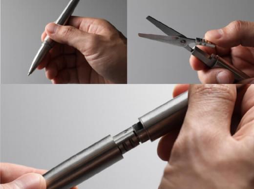 精緻なボールペンにハサミを格納
