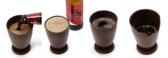 チョコビールを注いで、飲んで、最後はバリバリ食べられる。チョコレート製グラスセットを2019年2月2日より数量限定発売