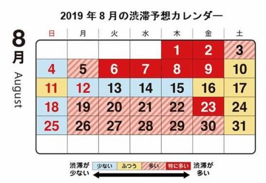 2019年8月の渋滞予測カレンダー - 首都高速道路株式会社