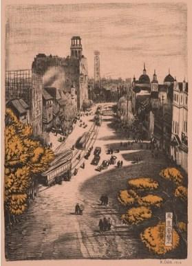 織田一磨 《東京風景 十四 上野広小路》 1916年 東京都江戸東京博物館蔵