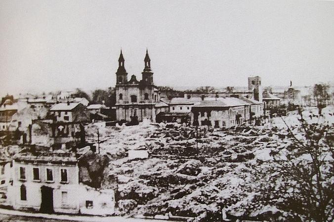 Zbombardowane centrum w Wieluniu