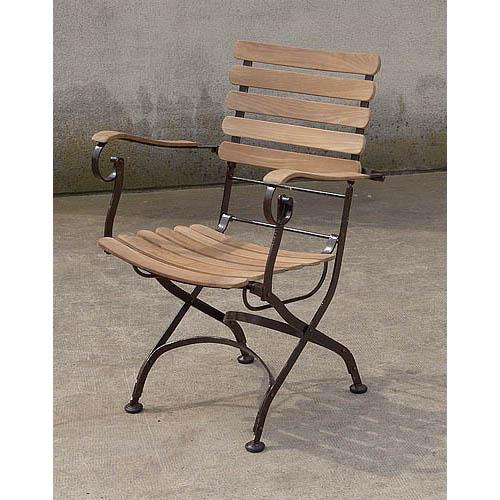 fauteuil de jardin teck fer forge 510