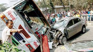 A road accident in Dhaka Bangladesh. The driver and the passengers of the Toyota Corolla car died instantly.
