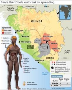 Ebola outbreak map.