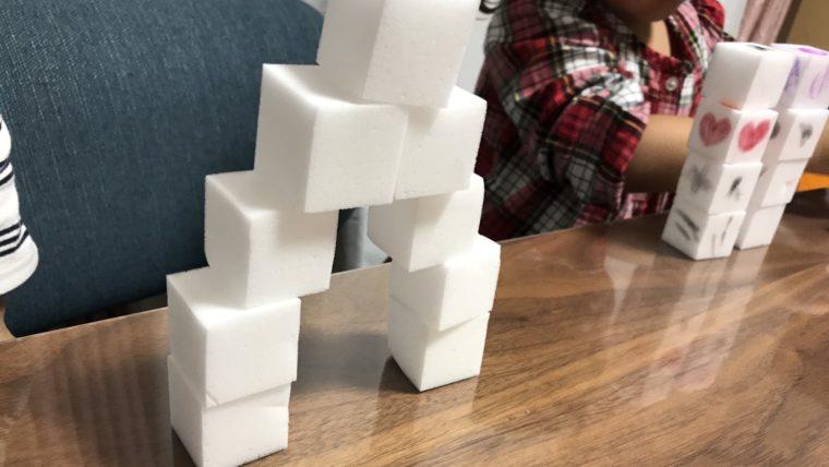 遊びはブロック代用メラミンスポンジでステップ!1歳2歳おすすめ知育遊び方紹介☆メラミンタワー