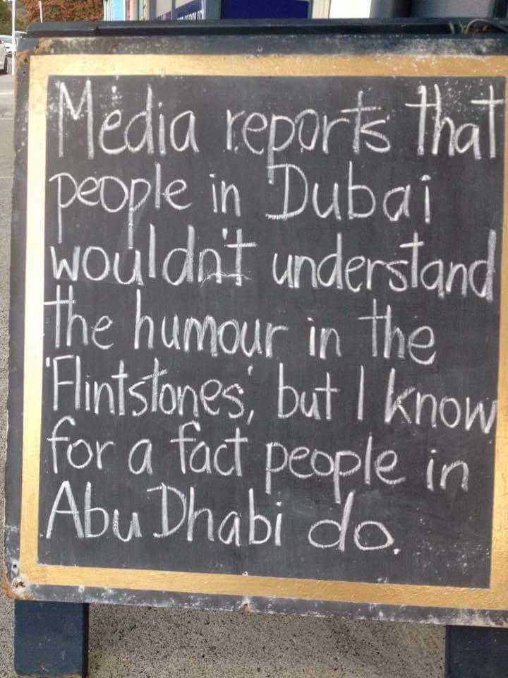 Flinstones humor, joke poster