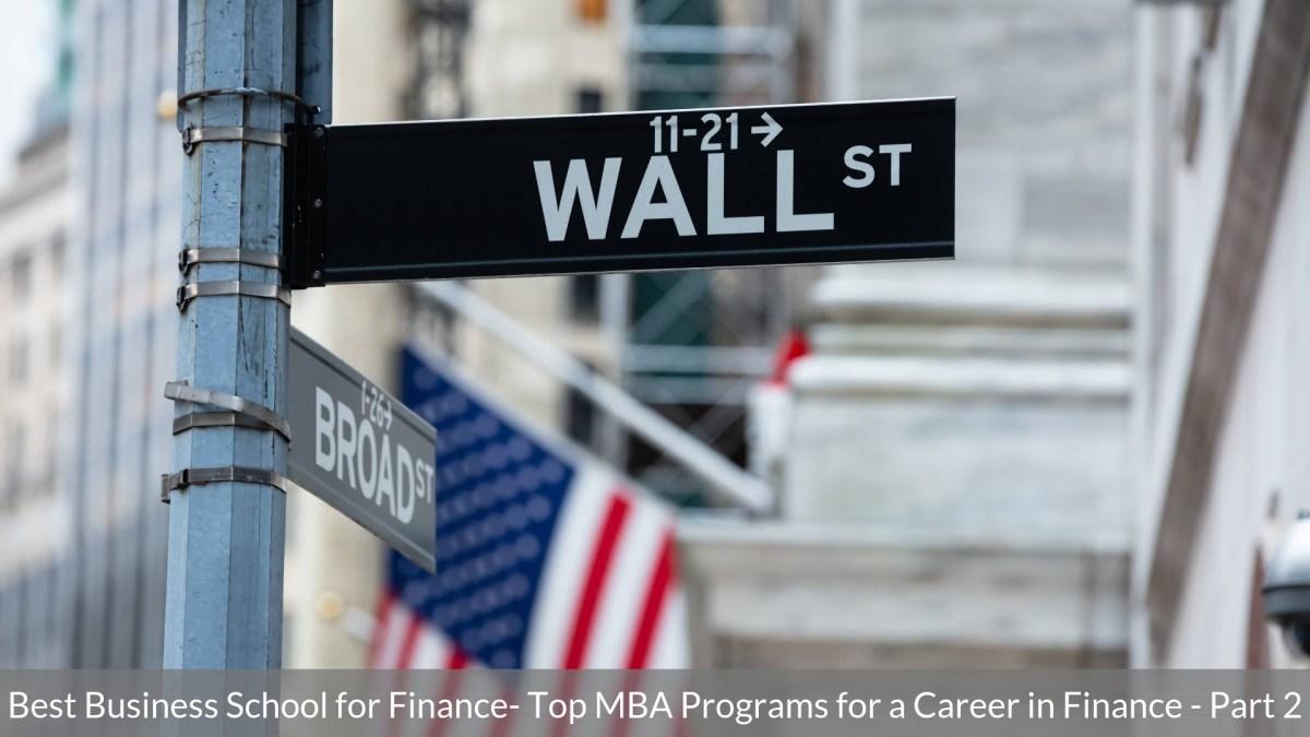Best Business School for Finance
