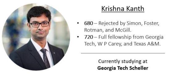 Krishna's GMAT score jouney from 680 to 720