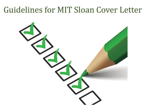 MIT SLoan Cover letter guidelines