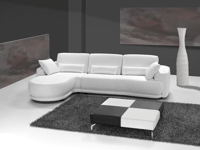 Canapé d angle cuir blanc