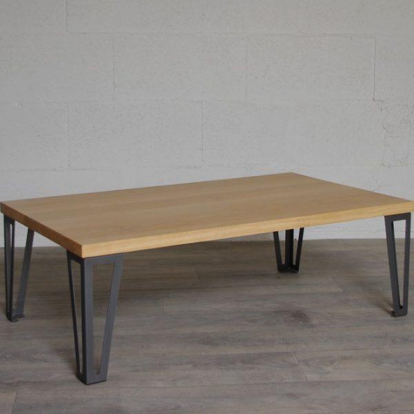 Table basse chene et metal
