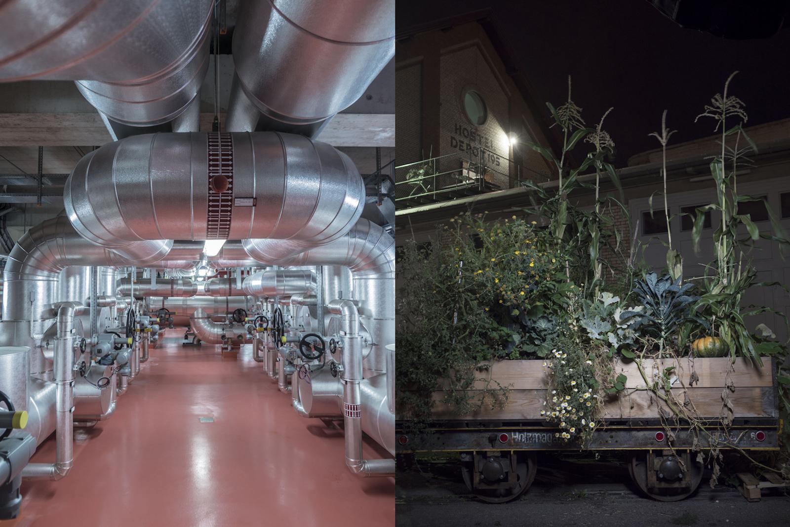 Nell'impianto di riciclo della Stadtwerk Winterthur si sfrutta l'energia contenuta nell'immondizia per produrre corrente e calore. In futuro i rifiuti saranno stoccati in un accumulatore stagionale per materiale combustibile, così da poter essere utilizzati per produrre energia in inverno (a sinistra). L'urban gardening e l'urban farming sono praticati già oggi. In un futuro prossimo a Winterthur intere facciate di edifici saranno ricoperte da piante. Il cosiddetto «vertical gardening» non abbellisce soltanto il paesaggio urbano, ma migliora anche la qualità dell'aria. (a destra). (Robert Huber)