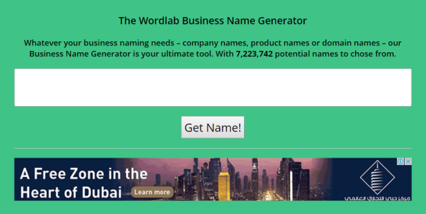 2- موقع  Wordlab Business Name Generator