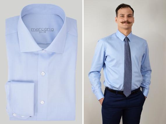 niebieska męska koszula