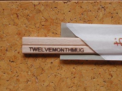 文字数の多い英字焼印を割り箸に