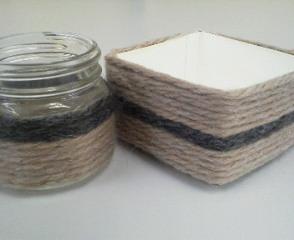 子供向け体験イベントへ向けて、毛糸を使った小物入れを試作中