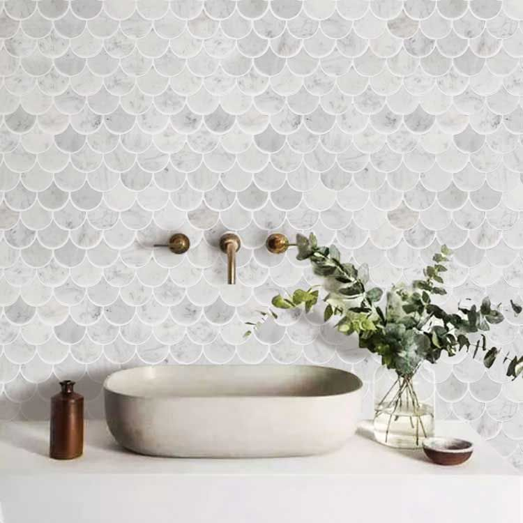 scallop shell mermaid tile marble stone mosaic tile kitchen backsplash bath wall and floor carrara white