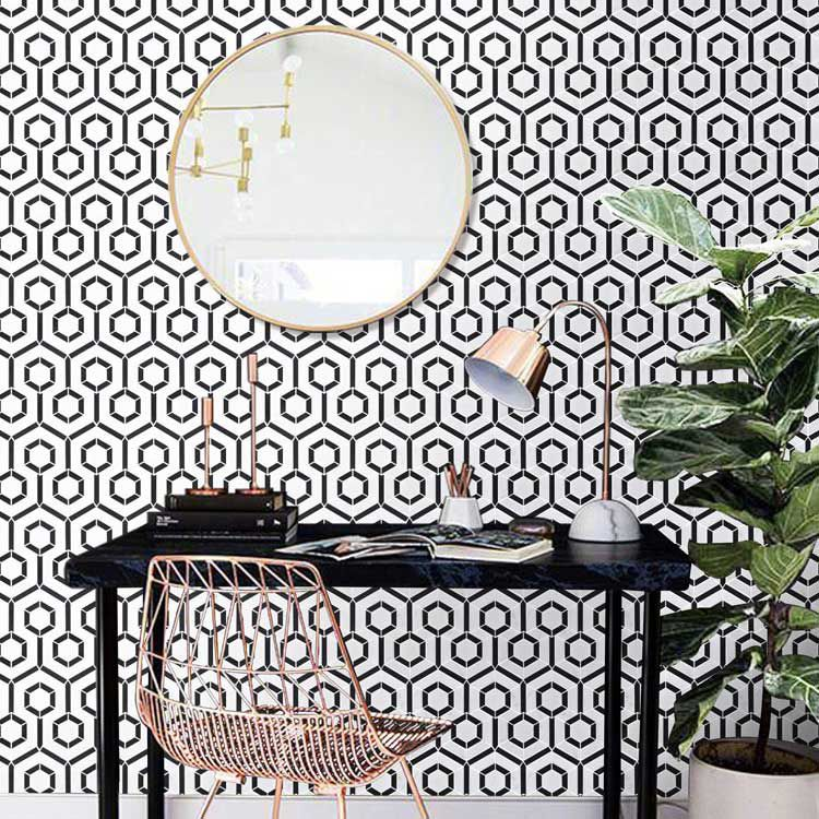 hexagon black and white marble stone mosaic tile bath wall and floor kitchen backsplash