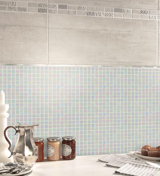 iridescent white glass mosaic tile