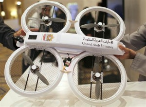 An unmanned aerial drone is displayed during Virtual Future Exhibition, in Dubai on Sunday. The United Arab Emirates says it plans to use unmanned aerial drones to deliver official documents and packages to its citizens as part of efforts to upgrade government services.