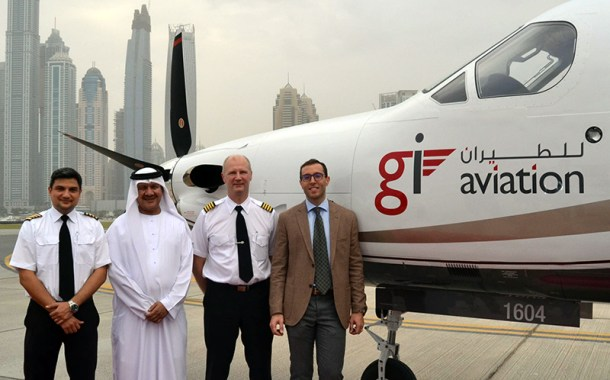 GI Aviation is open for business, Flies the Middle East's first Pilatus PC-12NG into Sky Dive Dubai