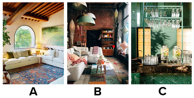 Choice between a) old world charm living room, b) Down-to-earth and cozy living room c) Extravagant and showy living room