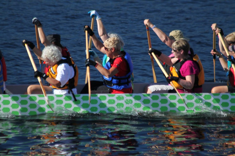 elderly ladies rowing a kayak