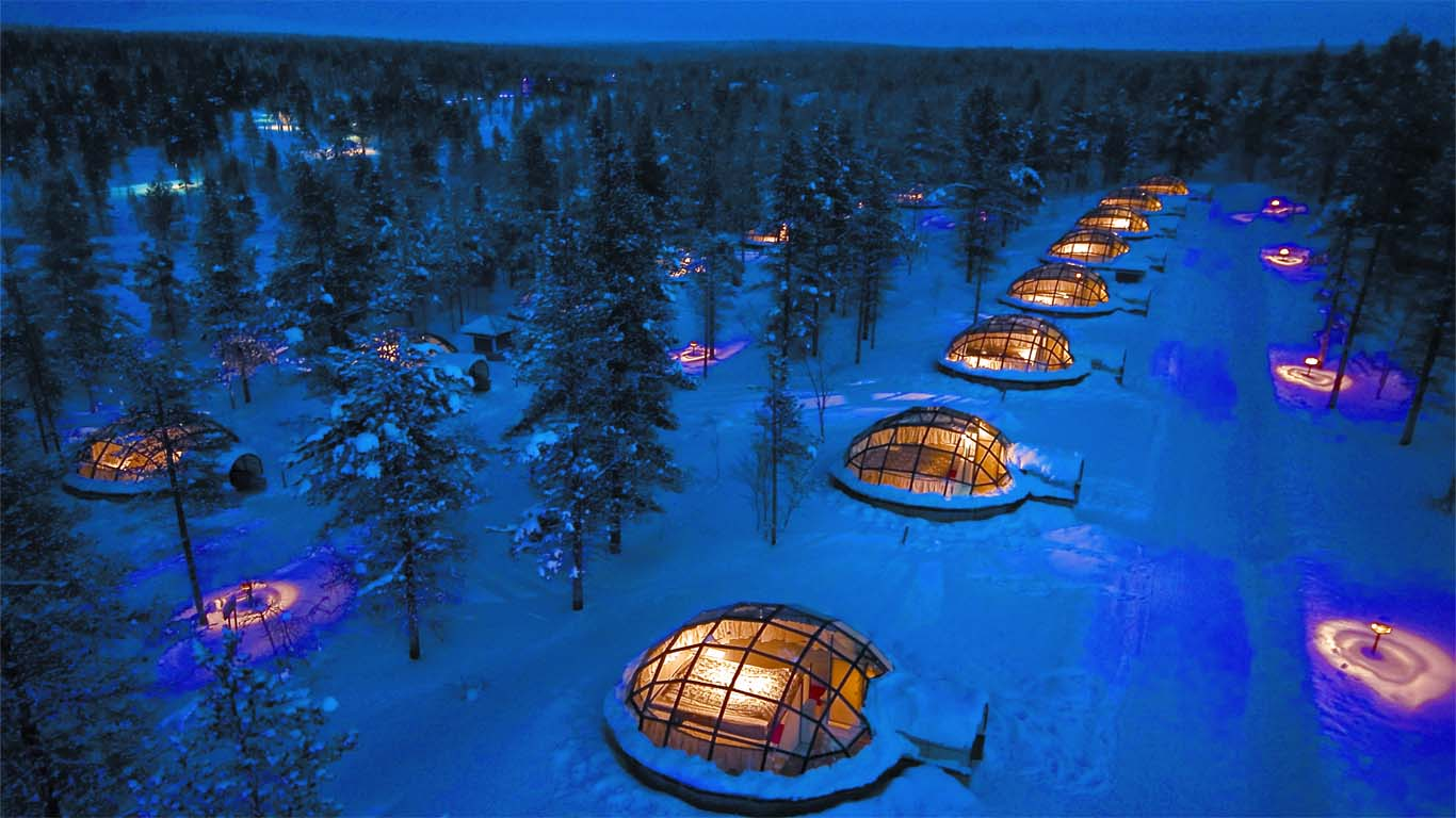 hotel-room pods at Kakslauttaner (Finland)
