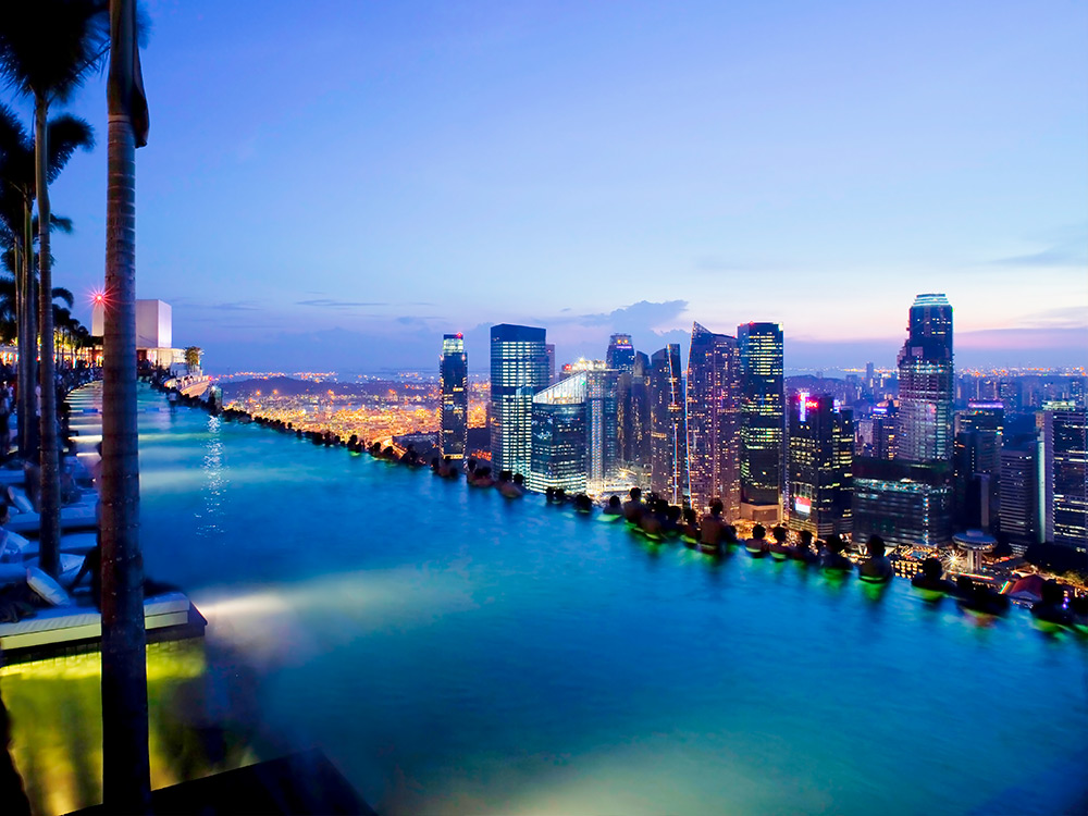 city view from the pool at the Marina Bay Sands Hotel in Singapore