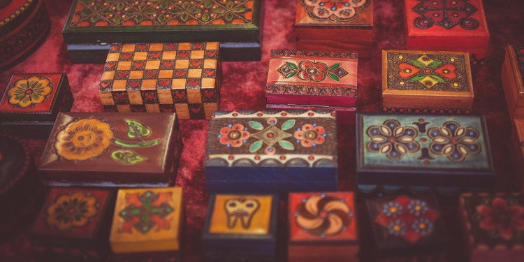 jewellery boxes with different patterns on them