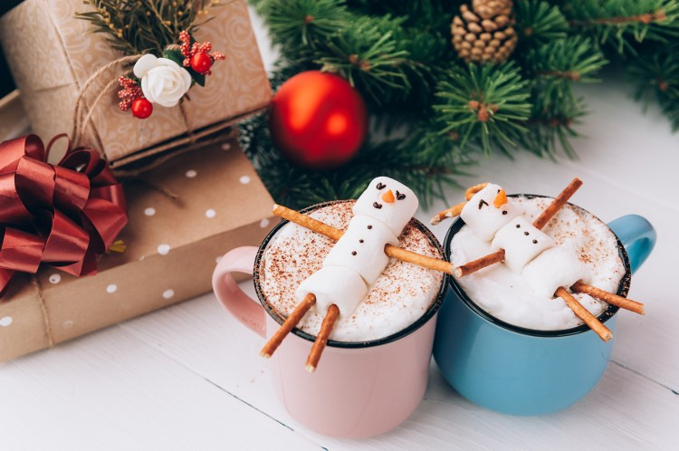 hot chocolate with decorated marshmallow toppers
