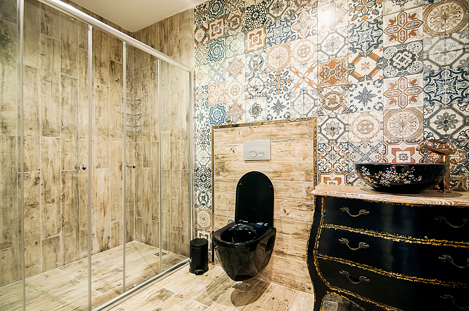 a tiled feature wall  in a bathroom