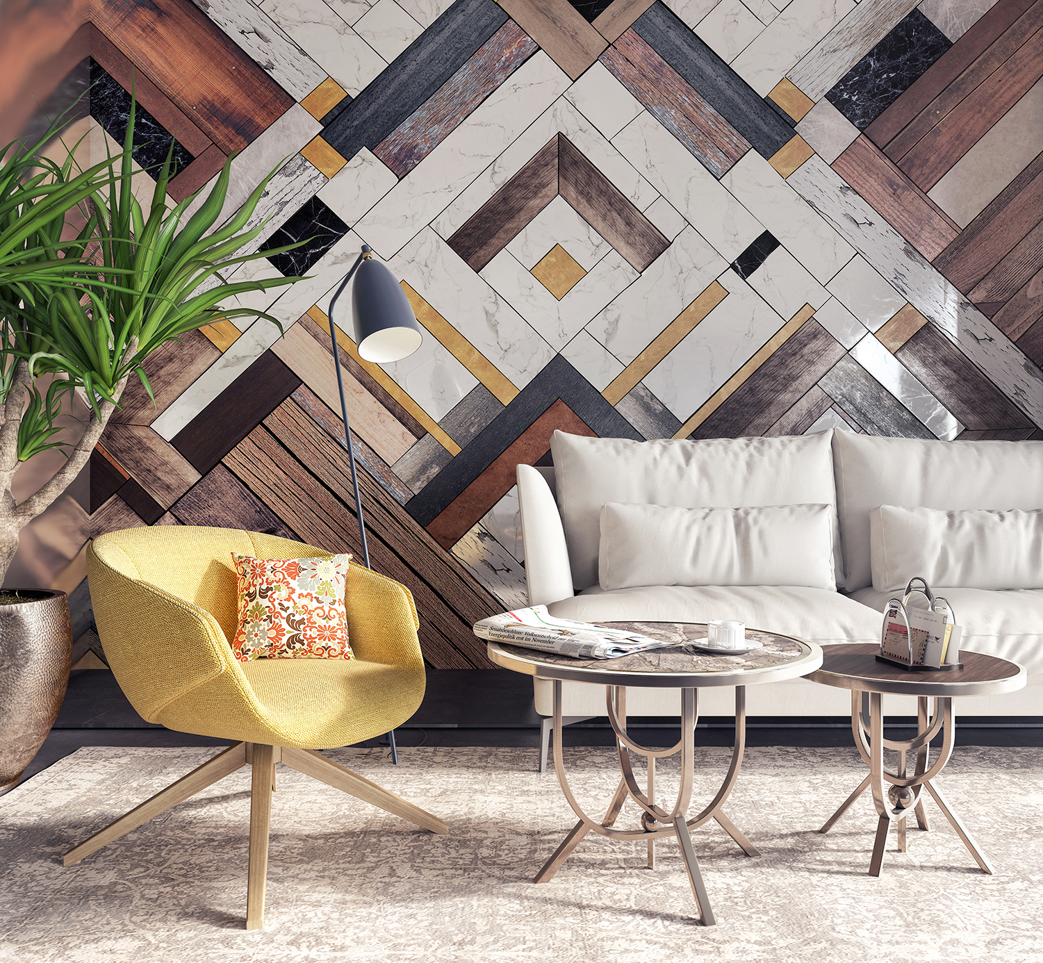 a wooden feature wall in a sitting room
