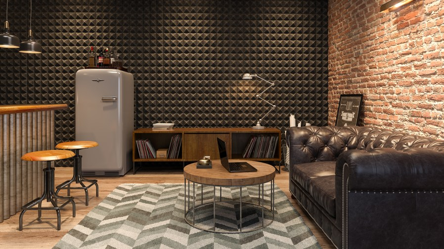 a living space with a wall full of acoustic panels
