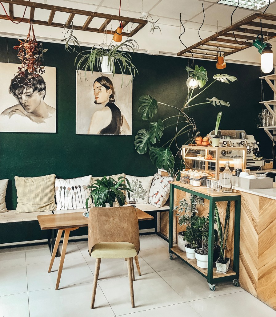 a cafe with many indoor plants