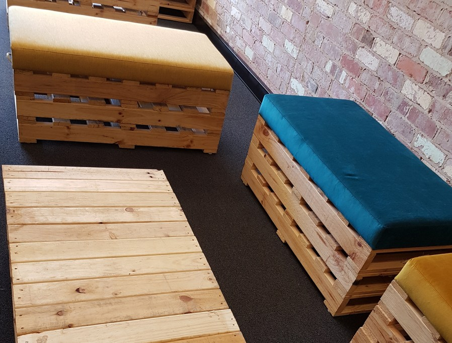 bench seating made out of recycled palets