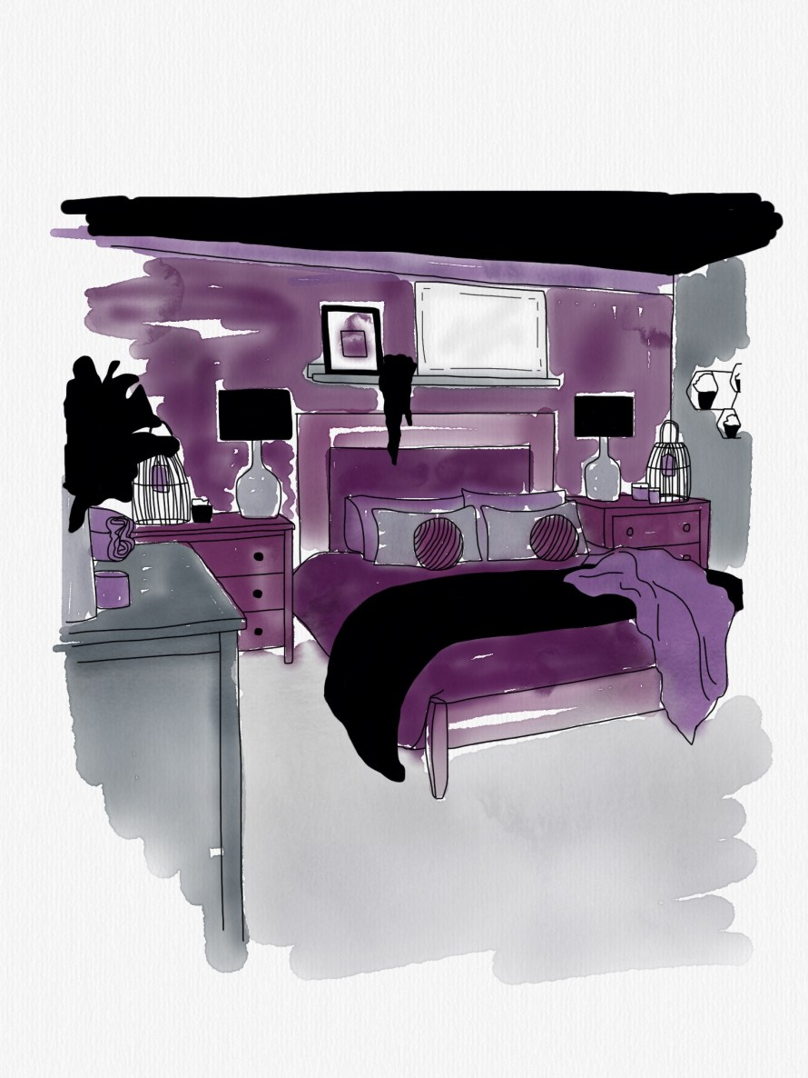 An illustration of a bedroom in deep purples and greys