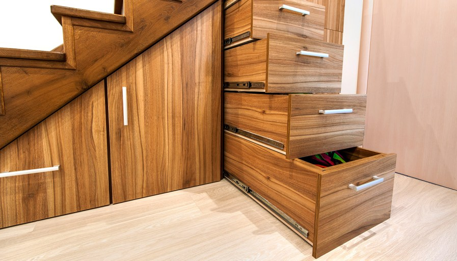 Custom under-stair drawers and cabinetry