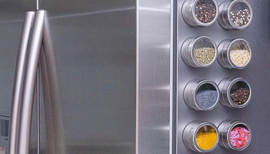 magnetic spice rack on fridge