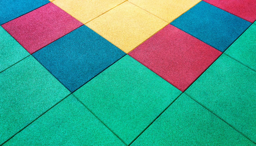 Colourful rubber floor tiles