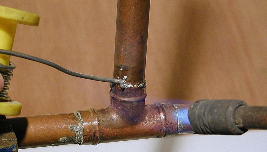 Pipes under a sink
